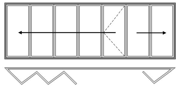 Reveal Bi-folding Doors - Seven Pane - Open Out - Five Slide Left and Two Slide Right