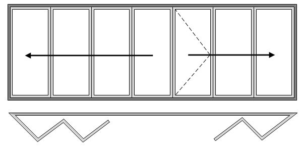7 Pane Bi-folding Door Open Out Four Slide Right to Left and Three Slide Left to Right