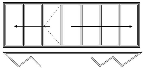 7 Pane Bi-folding Door Open Out Three Slide Right to Left and Four Slide Left to Right