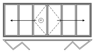 6 Pane Bi-folding Door Open Out Three Panes Slide Right to Left amd Three Panes Slide Left to Right