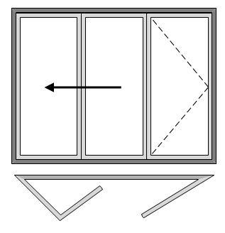 3 Pane Bi-folding Door - Open Out
