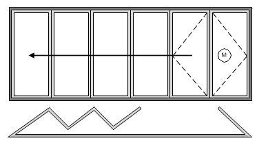 5 Pane Bifold Door Open In Five Sliding Right to Left with Master door to right