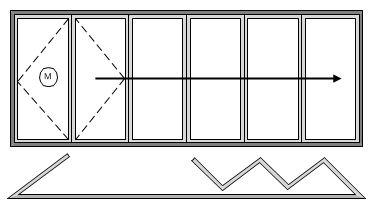 6 Pane Bifold Door Open In Left hand Master door and five panes sliding left to right