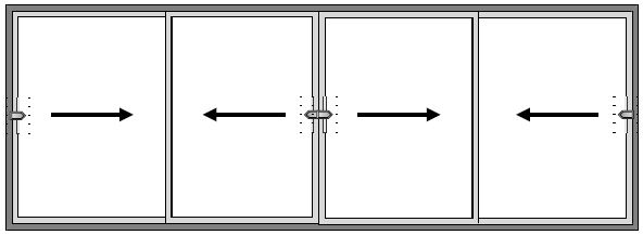 4 Pane Sliding Patio Door - All Slide