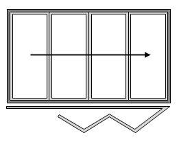 4 Pane Bi-folding Door Open Out Sliding Left to Right