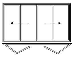 4 Pane Bi-folding Door Open Out Two Slide Left and Two Slide Right
