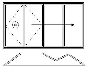 4 Pane Bifold Door Open In Master to Left Three Slide Left to Right