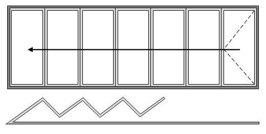 7 Pane Bifold Door Open In All Slide Right to Left