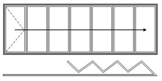 7 Pane Bifold Door Open In All Slide Left to Right