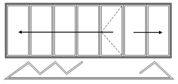 7 Pane Bifold Door Open In Five Slide Left and Two Slide Right