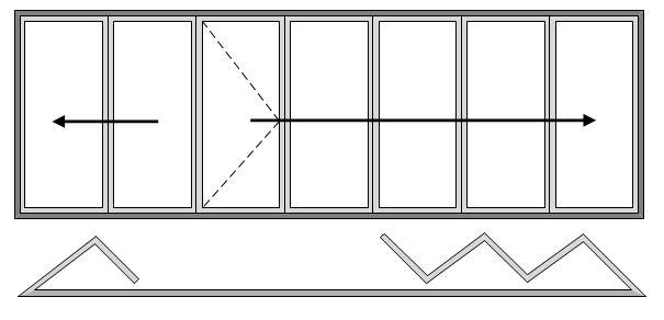 7 Pane Bifold Door Open In Two Slide Left and Five Slide Right with Master door