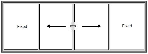 4 Pane Sliding Patio Door - Centre Sliding
